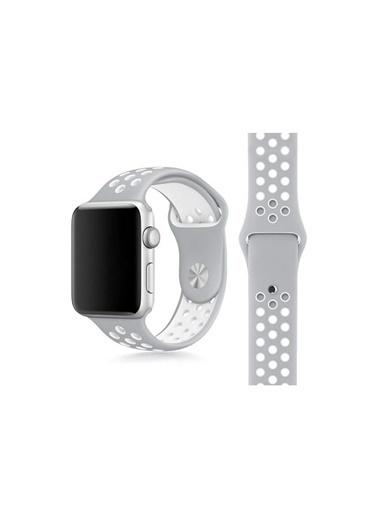 Apple Apple Watch 1 2 3 4 5 6 Seri Delikli Silikon Kordon Kayış 42-44Mm Gri - Beyaz Beyaz